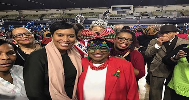 Mayor and seniors at holiday celebration