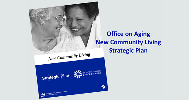 Book cover of DCOA Strategic Plan with text Office on Aging New Community Living Strategic Plan