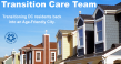 Row of houses with blue sky in background with Transition Care Team title text in white and DCOA logo in blue