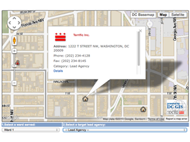 Map and text showing location of Terrific, Inc., a DCOA-designated lead agency service provider