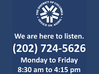 DCOA logo with Call-In Talk Line phone number and hours of operation