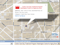 map and text showing Center Care Day Treatment Program Washington Center for Aging Services