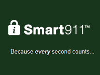 Smart911 logo with text because every second counts